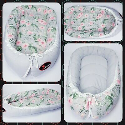 Baby nest pod cocoon XL SIZE 0-12 months HIGH QUALITY flowers on grey