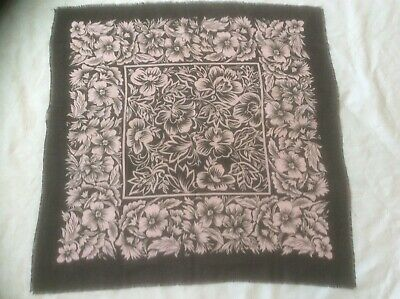 """Vintage Square Tablecloth Pink ORCHIDS Black Fringed Scarf Table Topper 31""""X 31"""""""