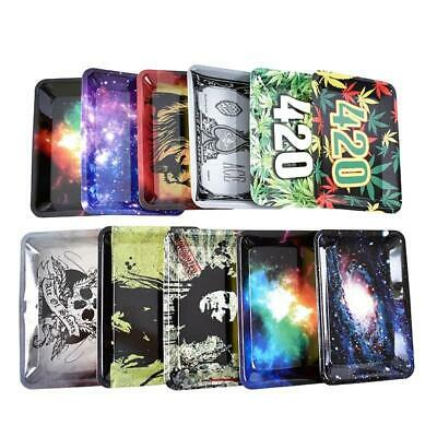 Cigarette Joint Smoking Plate Metal Trim Tobacco Weed Rolling Paper Tray Storage