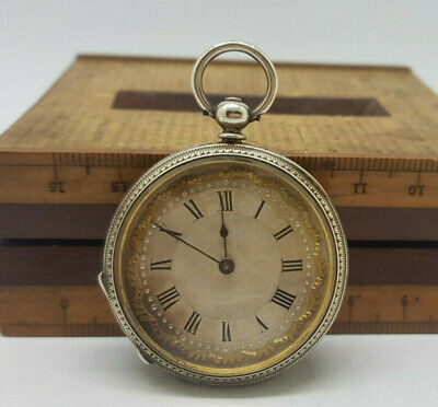 Antique Small Solid Silver Pocket Watch 38 Mm.