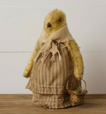 Primitive HEN DOLL Grungy With Easter Egg Basket Chicken Chick Spring Farmhouse