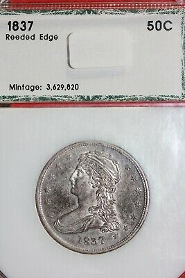 1837 Extra Fine Capped Bust Half Dollar Reeded Edge Slab OCE 1299