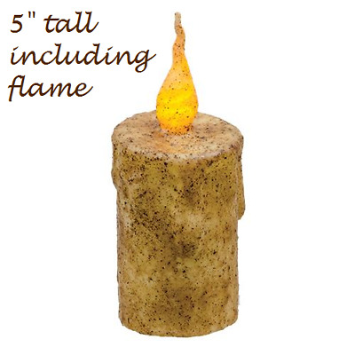 "Primitive Burnt IVORY FLICKER CANDLE 5"" Tall Battery Operated TIMER Grungy LED"