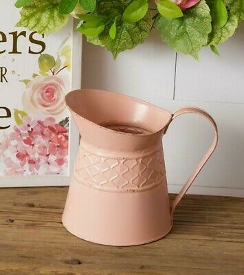 PINK FARMHOUSE SHORT PITCHER with HEARTS Cottage CHIC French Country Decorative