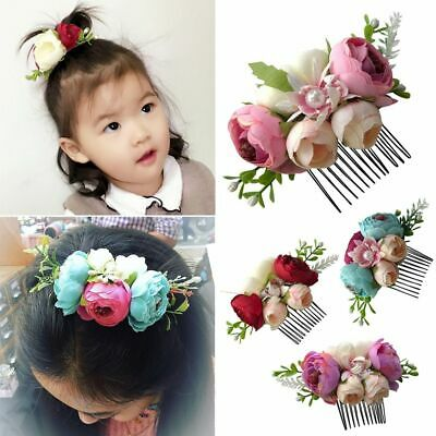 Gift Glitter Flower Hair Comb Leaves Baby Pearl Hairpin Girls Hair Clip