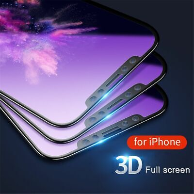 Blue Ray Tempered Glass Screen Protector 3D Edge Curved For IPhone X 8 7 6 Plus