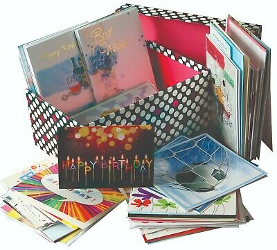 100 Different Mixed Everyday Greeting Cards Birthdays & Occasions in Storage Box