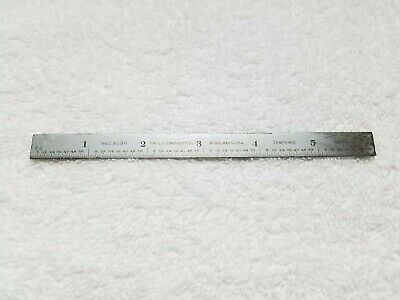 "Vintage LS Starrett Co No C 305 R 6"" Tempered Steel Rule Thin Small Made in USA"