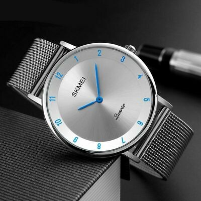 Men's Ultra Thin Dial Stainless Steel Strap Waterproof Analog Quartz Wrist Watch
