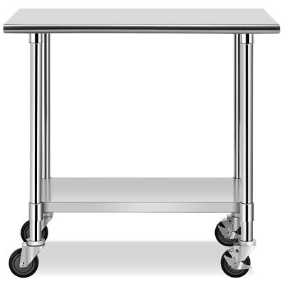 """36"""" x 24"""" NSF Commercial Kitchen Prep &Work Table with 4 Casters High Quality"""