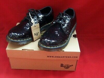Dr Martens 1461 Black Sequin Uk Size 6 Women's Brand New Boxed Tags