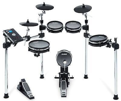 Alesis Command Mesh Kit, Eight-Piece Electronic Drum Kit with Mesh Heads, Chr...