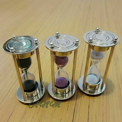 """Set Of 3 Antique Sand Timers Hourglass Nautical Brass Halloween Offer Gift 4"""""""