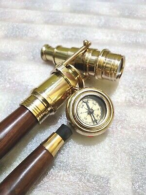 Wooden Walking Stick Cane With Brass Finish Foldable Telescope Compass On Top