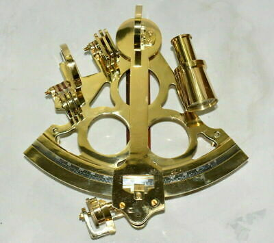 """Nautical Vintage 8"""" Inch Brass Finish Micrometer Navigational Instrument Sextant"""