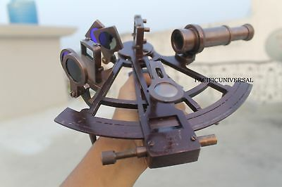 Sextant Brass Navigational Astrolabe Instrument Marine Antique Collectible 8""