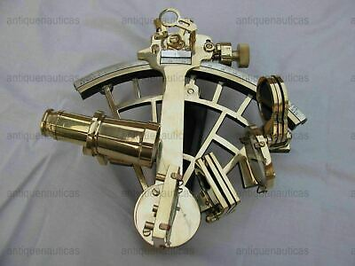 "Nautical Brass Sextant Vintage Maritime Astrolabe Ship's Instruments 8"" Replica"