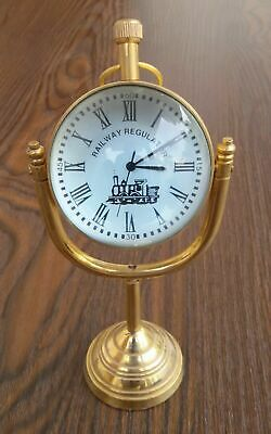 Vintage Style Brass Clock Antique Watch Table Top Desk Collectible Designer Item