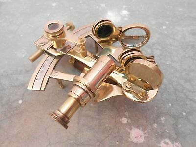 Nautical Vintage Brass Finish Kelvin & Hughes Sextant Solid Navy Maritime Item