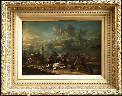 17th CENTURY FRENCH OLD MASTER OIL - BATTLE SOLDIERS HORSES - JACQUES COURTOIS