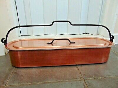 VINTAGE FRENCH COPPER FISH KETTLE POACHER with LIFTING TRAY