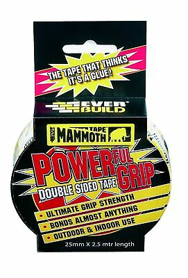 Mammoth Powerful Grip Tape - Re-enforced double-sided tape - 25mm x 2.5m - Cl...