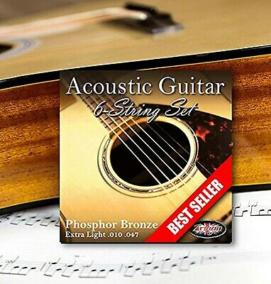 Adagio Professional Acoustic Guitar Strings Full Set/Pack - Gauge 10-47 Phosp...