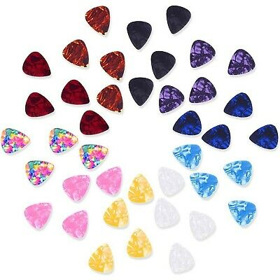 Mixed Color 0.46mm Celluloid Guitar Picks Plectrums with Metal Pocket Box, 40...