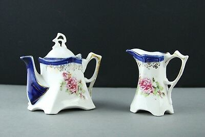 """Beautiful Porcelain Teapot and Creamer """"A Present From Portumna"""" Stamped """"2043"""""""
