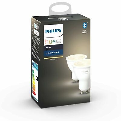 Philips Hue White Smart Spotlight Twin Pack LED (GU10 Spot) with Bluetooth, W...