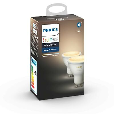 Philips Hue White Ambiance Smart Spotlight Twin Pack LED (GU10 Spot) with Blu...