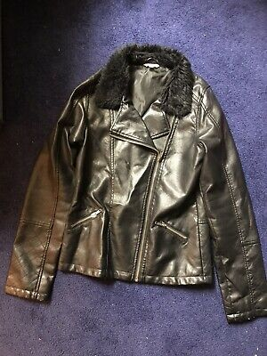 Girls Leather Look Jacket Aged 13/14, Black