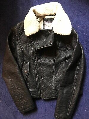 Girls Leather Look Jacket Aged 13, Black