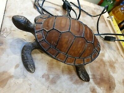 French Table Lamp Vintage Tortoise Antique retro mid century design glass shell