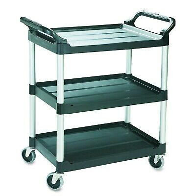 Rubbermaid Commercial Products FG342488BLA Utility Cart 3 Shelve Service Cart...