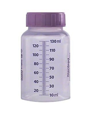 Sterifeed 130ml disposable single use purple lid hospital type bottles box of 20
