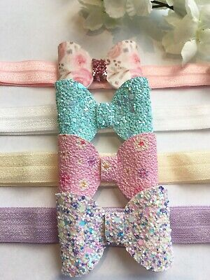Handmade set of 4 glitter/floral baby toddler 1-2 years headbands
