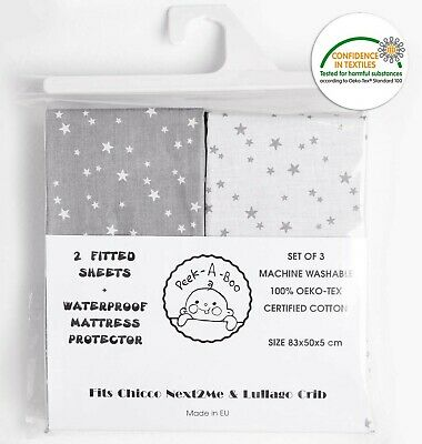Chicco Next2Me and Lullago Crib Fitted Sheets x2 + Waterproof Mattress Protec...