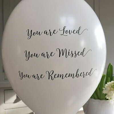 Angel & Dove 10 White Funeral Balloons 'You are Loved, Missed, Remembered' - ...
