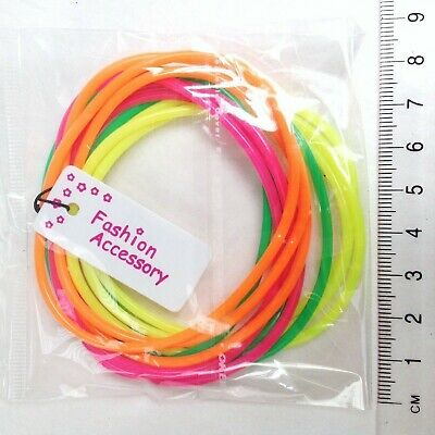 Pack of 12 Neon Gummie Bracelets / Bright Bangles / Gummy Bands - great party...