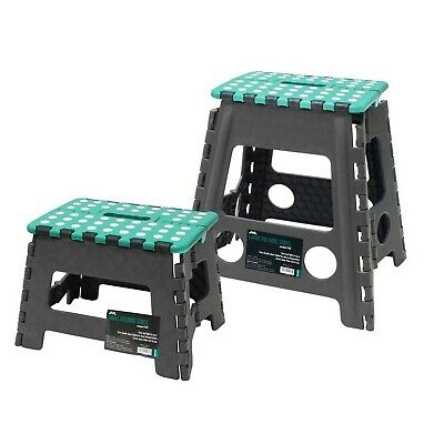 JVL Small and Large Folding Step Stool, Grey, Large & Small