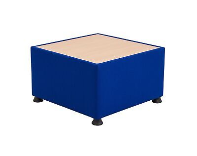 Office Essentials Modular Upholstered Reception Table - Royal Blue/Wood Top
