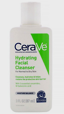 cerave hydrating facial cleanser for normal to dry skin 3 fl oz (87 ml)+ gifts