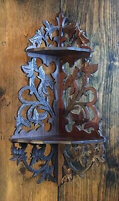 Antique Victorian Carved Black Forest Walnut  2 Tier Hanging Corner Curio