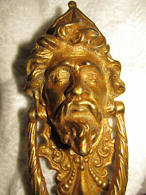Large Original Antique Brass Byzantine King /Sultan Door Knocker w/h fittings