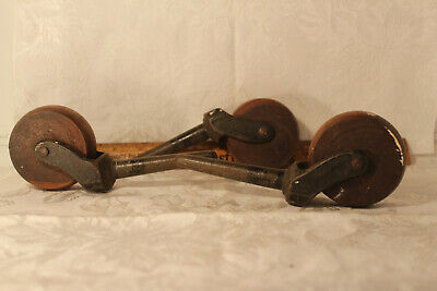 "3 Antique Wood & Cast Iron Furniture Bed Casters Rollers Victorian 2 1/2"" Wheel"