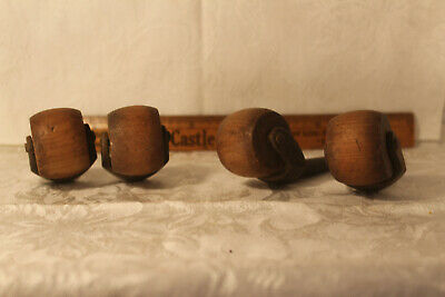 "4 Antique Wood & Cast Iron Furniture Bed Casters Rollers Victorian 1 3/4"" Wheel"