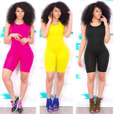 US Womens Sexy Sleeveless Bodycon Romper Jumpsuit Lady Club Bodysuit Short Pants