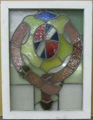 "MIDSIZE OLD ENGLISH LEADED STAINED GLASS WINDOW Fun Abstract Shield 17.25"" x 23"""