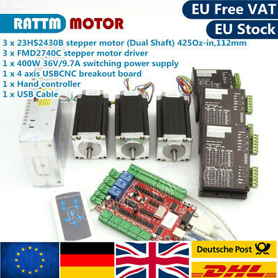 『EU』3 Axis USB CNC Controller Set Nema23 Stepper Motor 425oz.in 112mm&3P Drivers